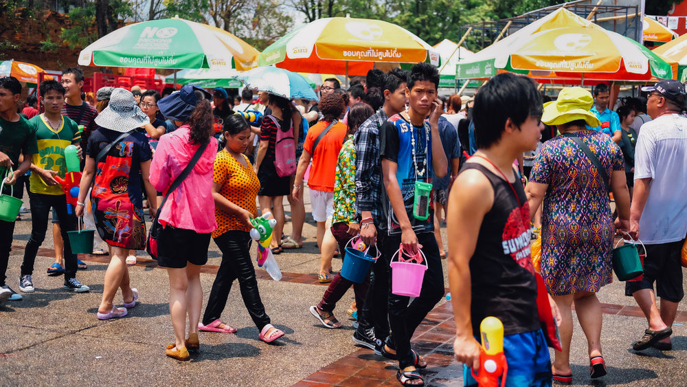 Thai people getting ready for Songkran in Chiang Mai