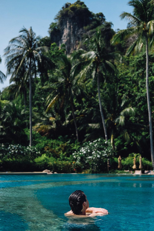 Enjoying the infinity pool at the Rayavadee Hotel in Krabi