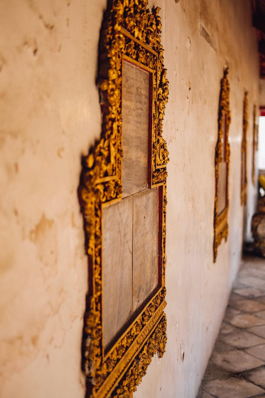 Beautiful frames in the temple in Bangkok