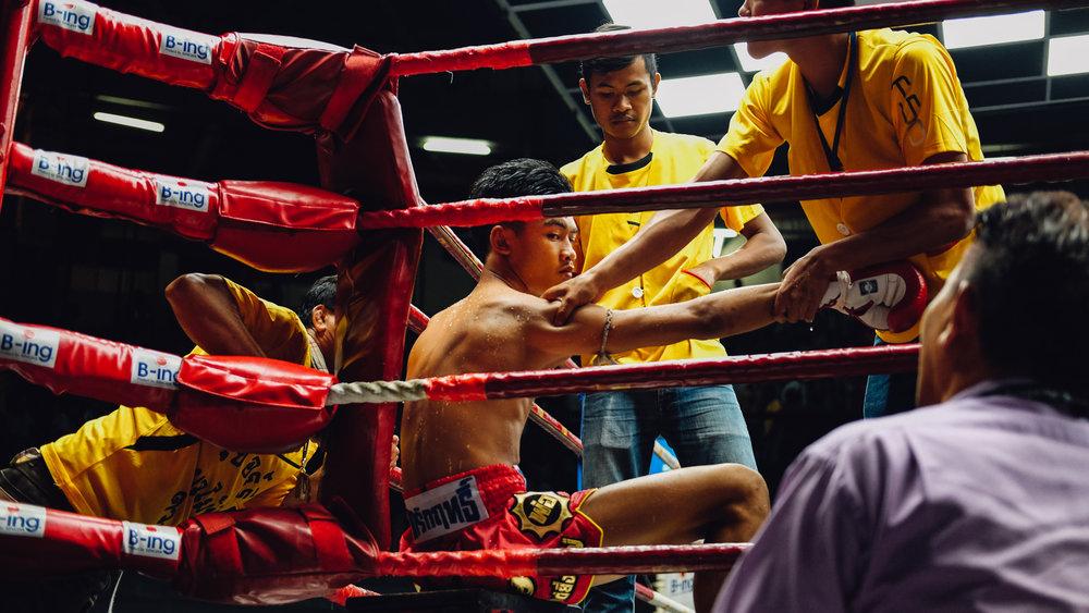 A muay thai fighter at Rajadamnern Stadium in Bangkok
