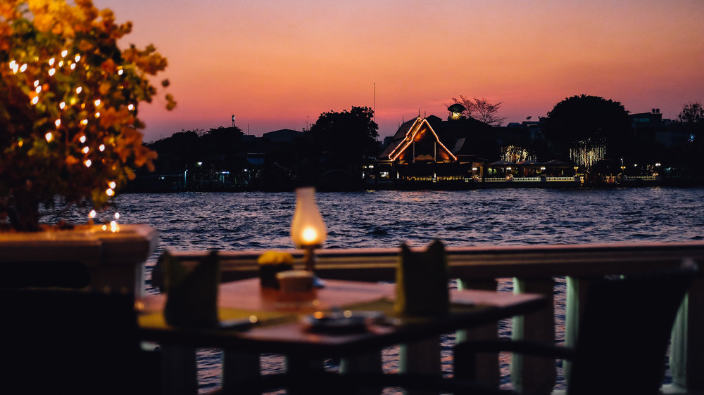 Dinner overlooking the Chao Phraya river at the Mandarin Oriental