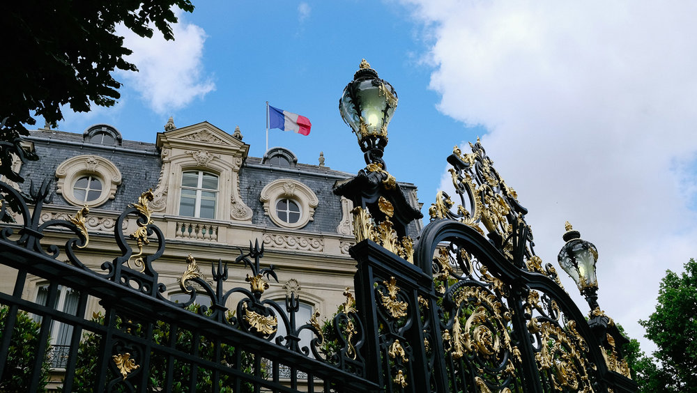 """An opulent iron gate in Paris. Just a taste of the amazing architecture the city has to offer. Travel photography and guide by © Natasha Lequepeys for """"And Then I Met Yoko"""". #paris #paristravel #photoblog #travelguide #france #parisitinerary #parishighlights #parissights #travelblog #travelphotography #landscapephotography #travelitinerary #fujifilm #paristravelguide #architecturephotography #europe #travelblogger #wanderlust #explore #travel"""