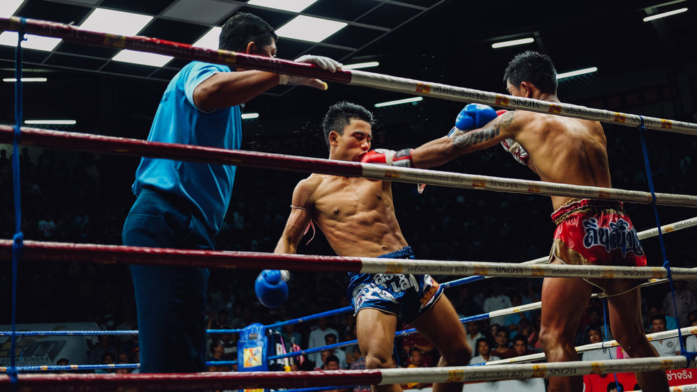 "Muay Thai fight at the  Rajadamnern Stadium , Bangkok. Travel photography and guide by © Natasha Lequepeys for ""And Then I Met Yoko"". #thailand #seasia #travelguide #photoblog #travelblog #travelphotography #landscapephotography #travelitinerary #fujifilm #krabi #bangkok #chiangmai #pattaya #knockout #fighter #streetphotography #beachvacation #muaythai #honeymoon #songkran"