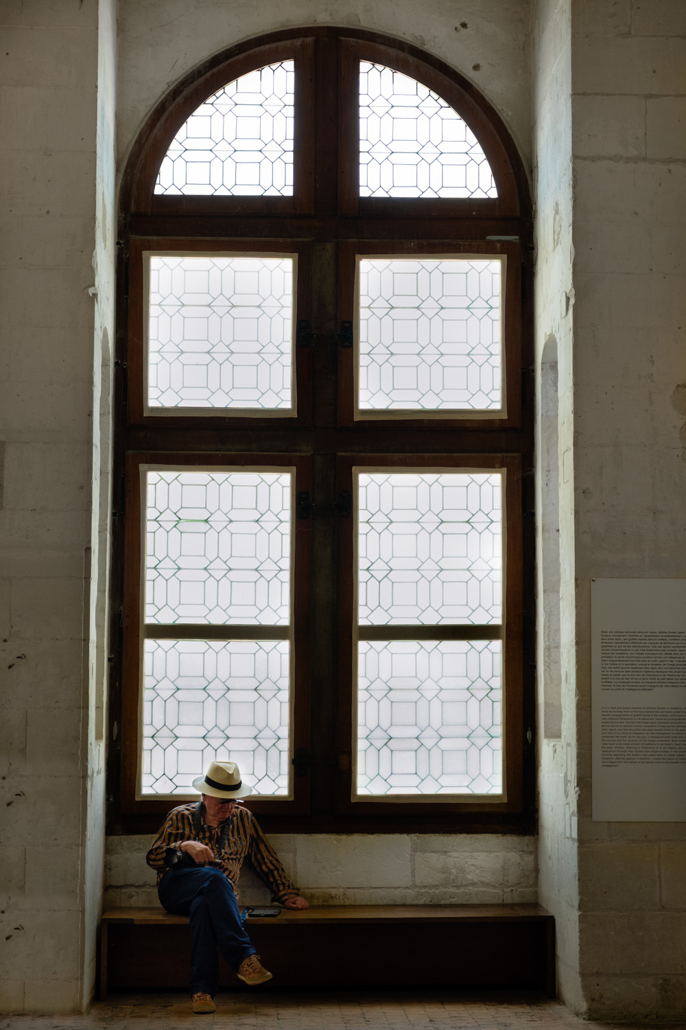 A man waits inside Chambord