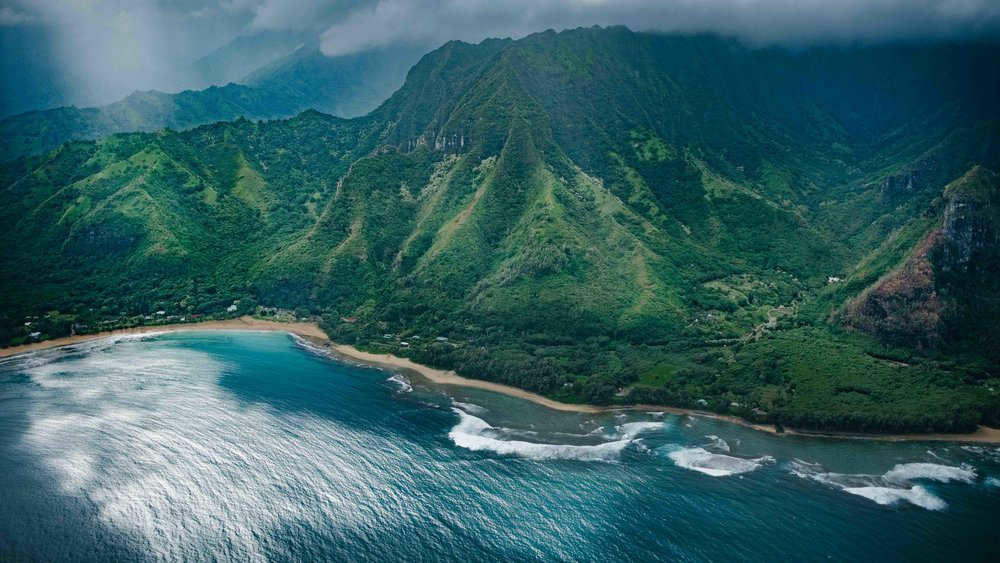 Aerial view of the Na Pali Coast State Park
