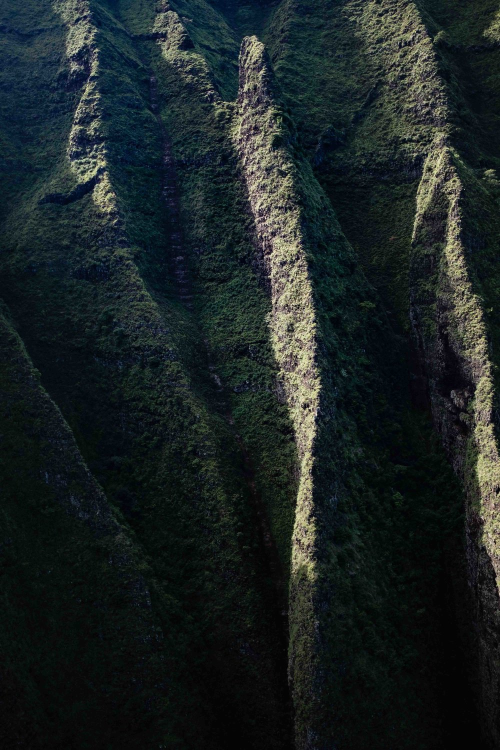 A closeup of the cathedral cliffs of Kauai