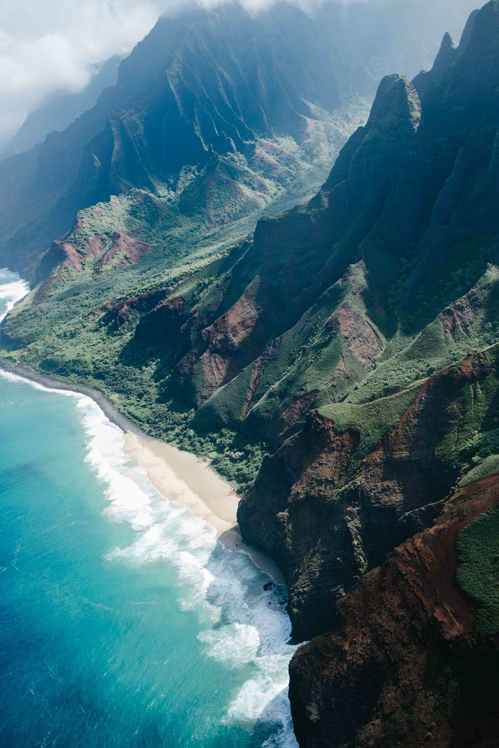 Aerial view of the Napali Coast State Park
