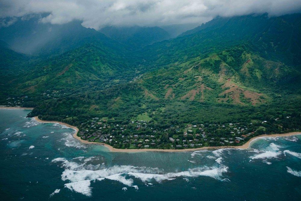 Aerial view of the coastline of Kauai
