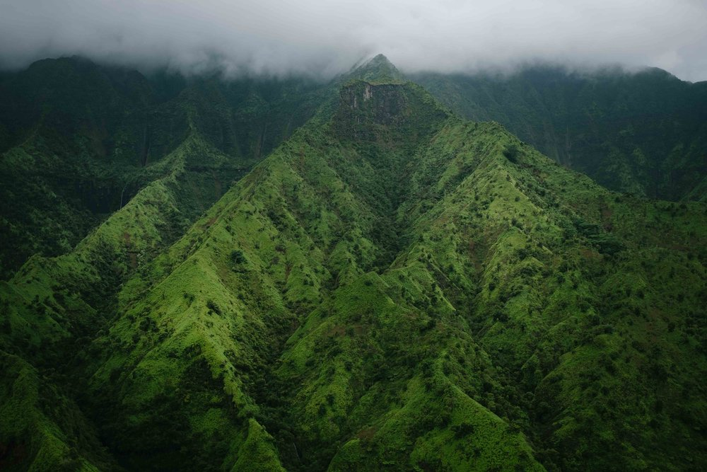 Hawaiian mountain ridges