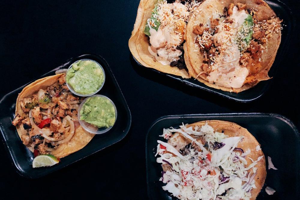 Chicken, fish, shrimp and beef tacos at  Lucha Libre Taco Shop