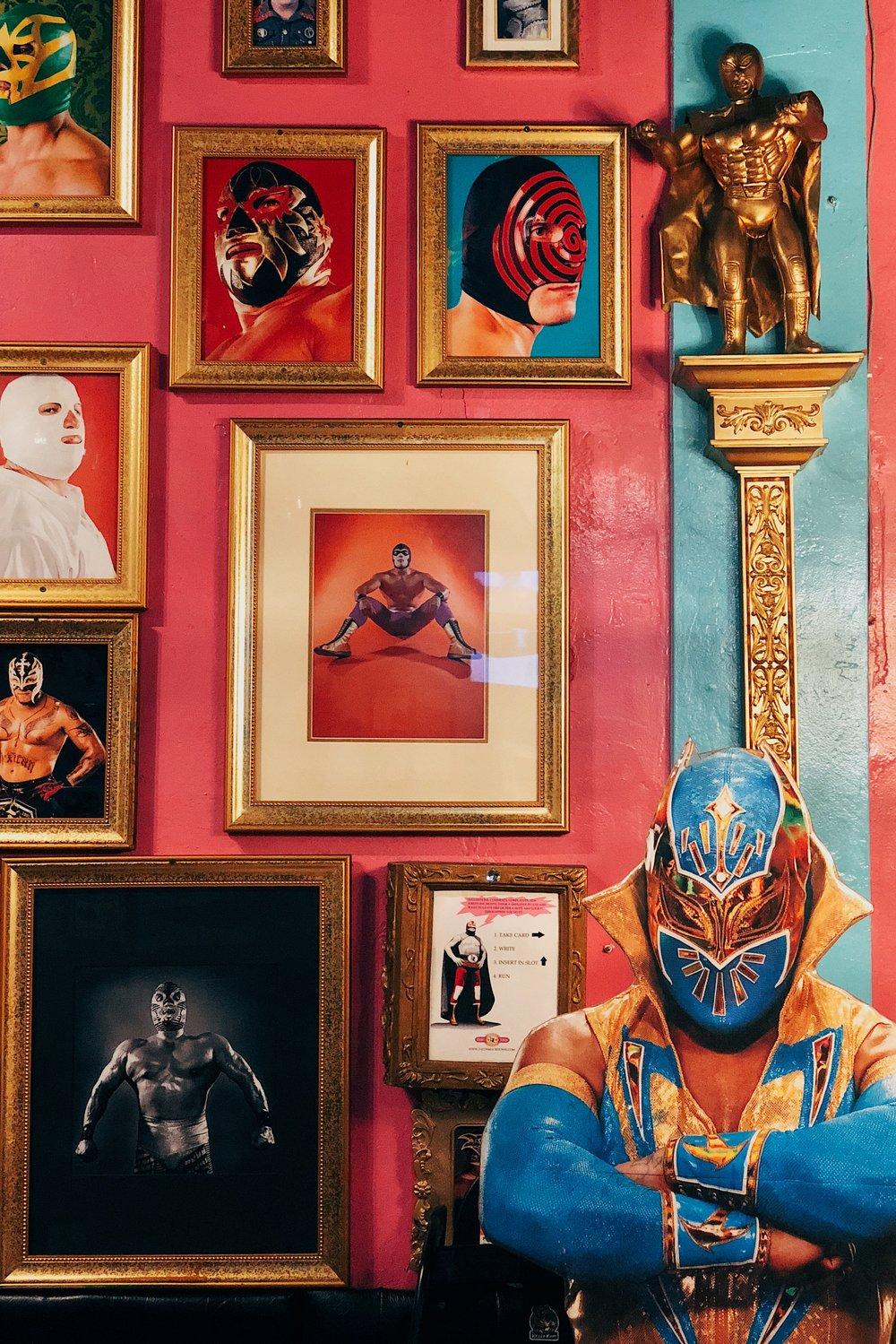 Mexican wrestling decor at Lucha Libre Taco Shop