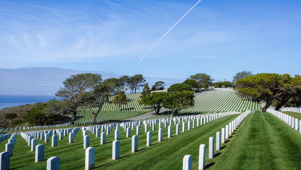 "Vast headstones at Fort Rosecrans National Cemetery - San Diego travel guide by ""And Then I Met Yoko"". Photography by Natasha Lequepeys #travelphotography #travelblog #sandiego"