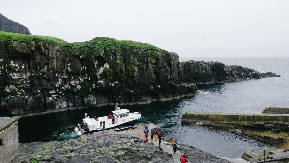 The ferry docking on Mykines