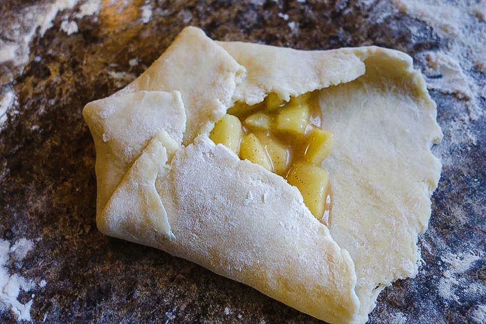Folding the dough for the apple blossom