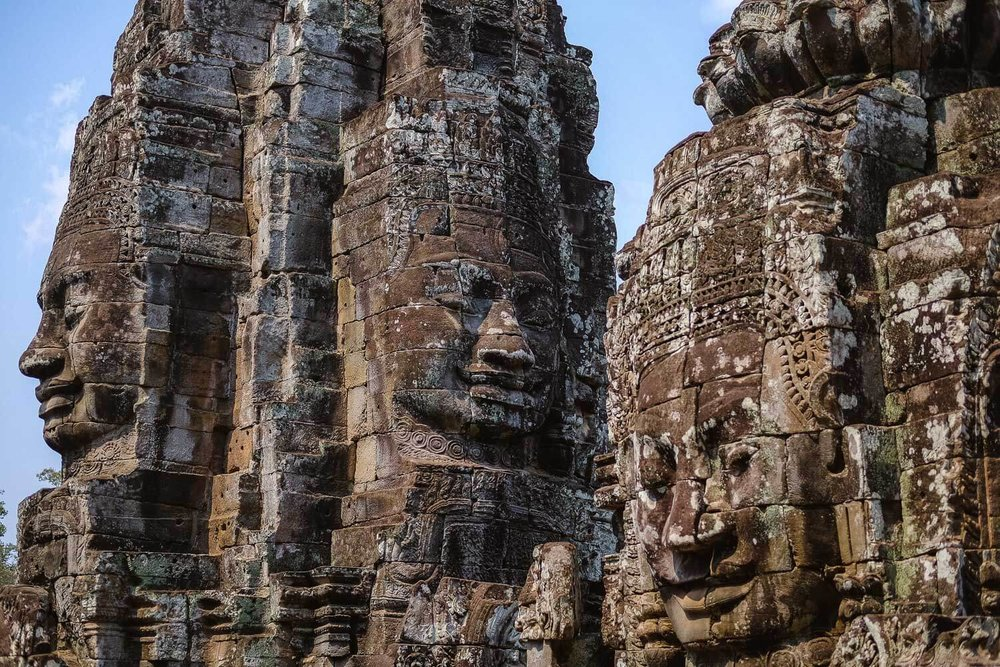 The buddha faces up close