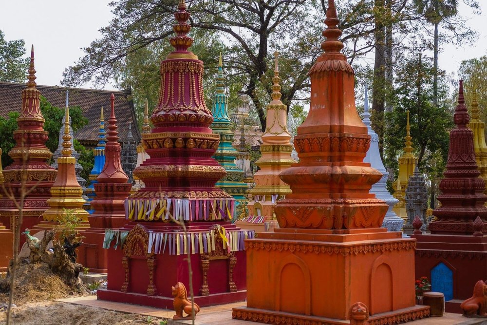 Colourful stupas in Siem Reap.     #siemreap #angkorwat #travelguide #travelblog #siemreapitinerary #cambodia #travelphotography #landscapephotography #fujifilm #siemreapprivatetour