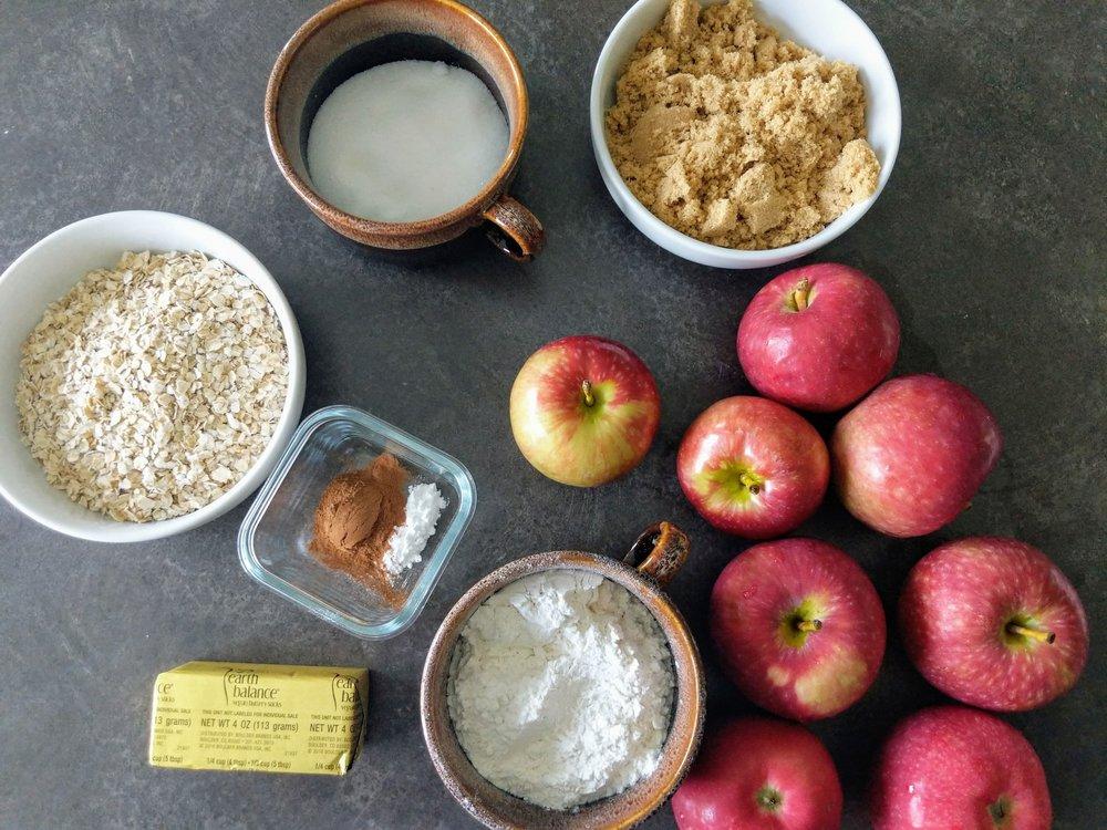 Ingredients for vegan apple crisp