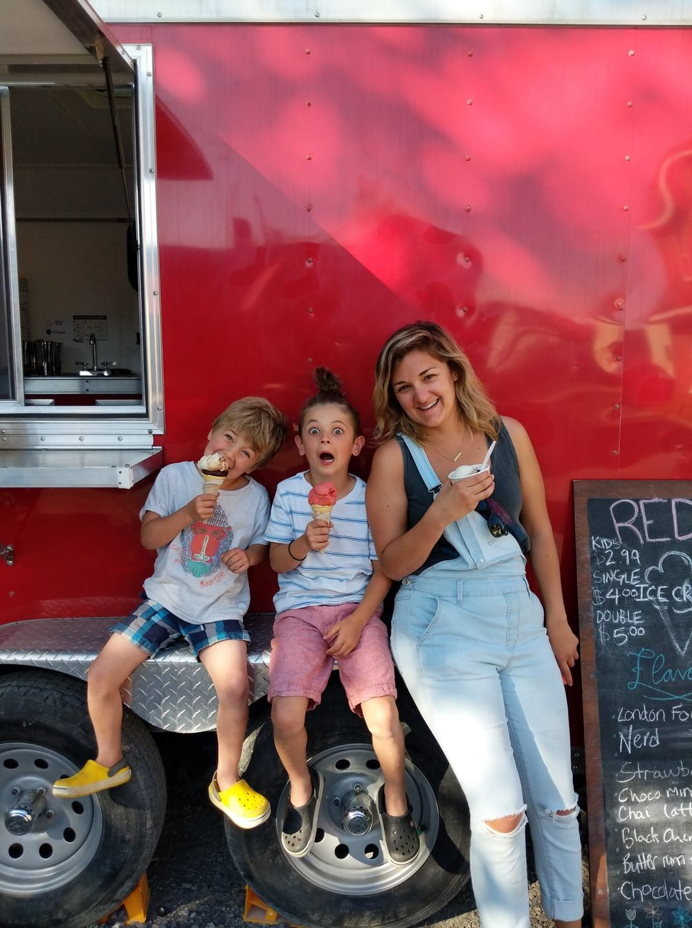 Shelly of Simply Shelly and her two sons enjoying some vegan ice cream