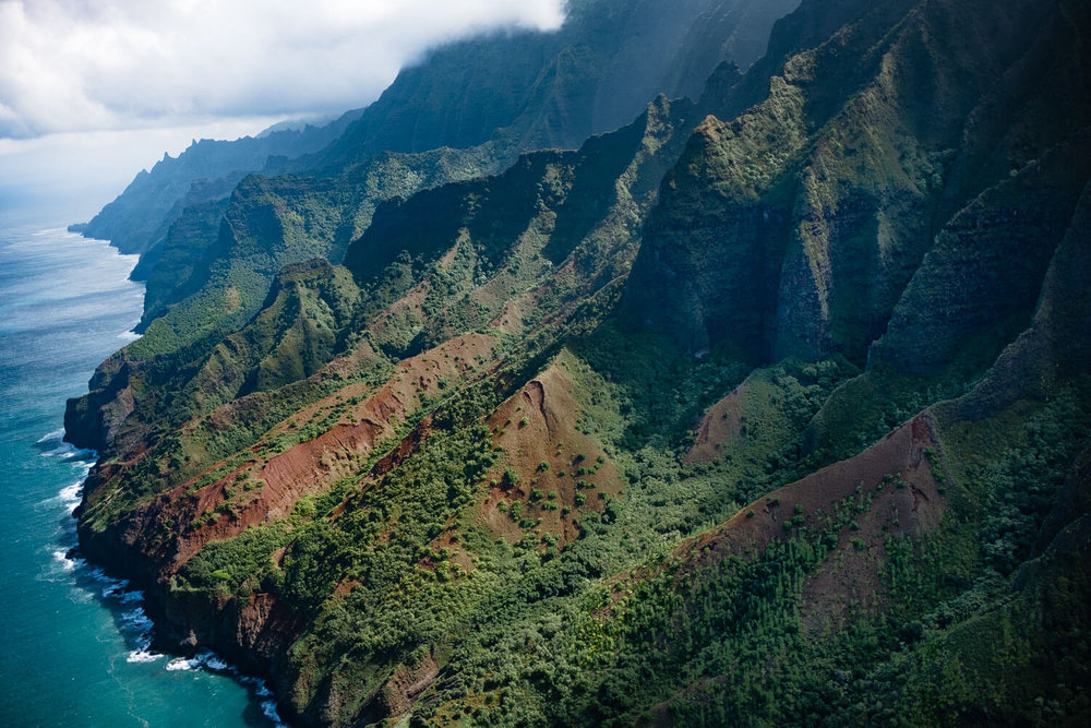 View of Kanapali Coat in Kauai from a Helicopter