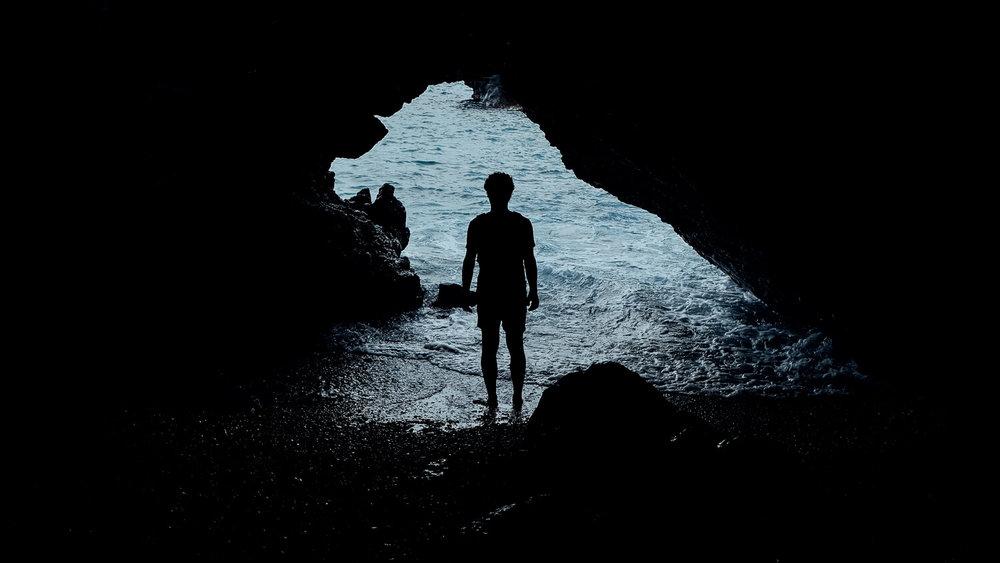 A lava tube (cave) at Waianapanapa State Park