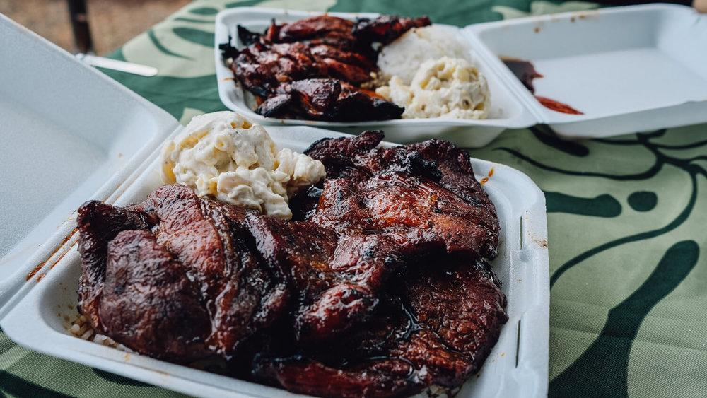 Delicious BBQ pork at Braddah Hutts BBQ Grill