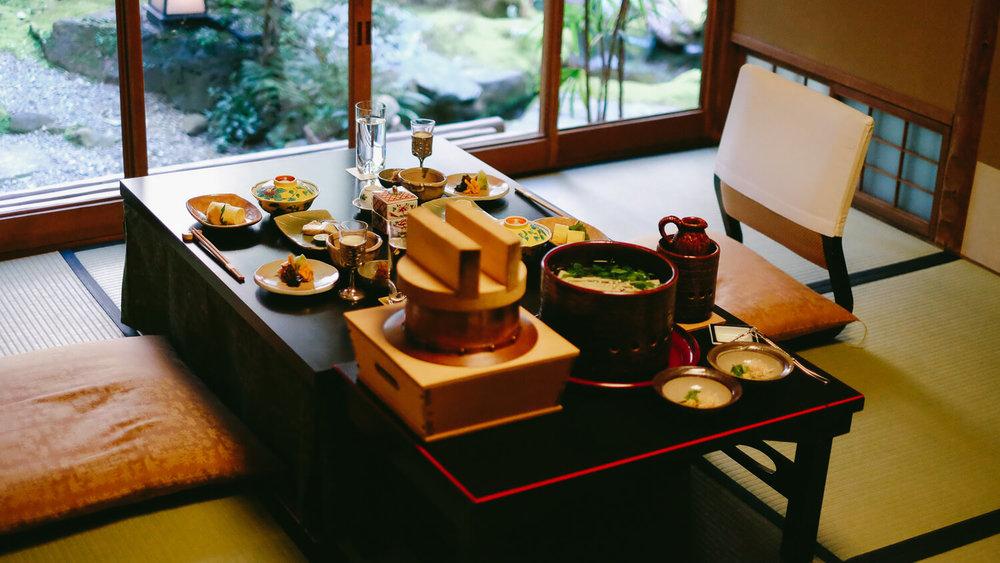 A traditional Japanese breakfast at the ryokan  The Yoshikawa Inn , in Kyoto