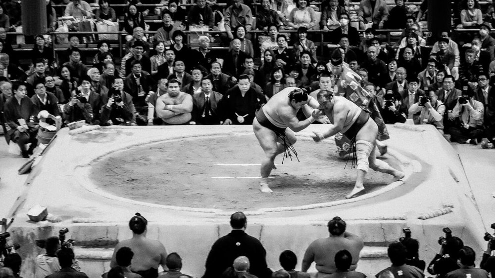 Two sumo wrestlers during the grand tournament in Japan