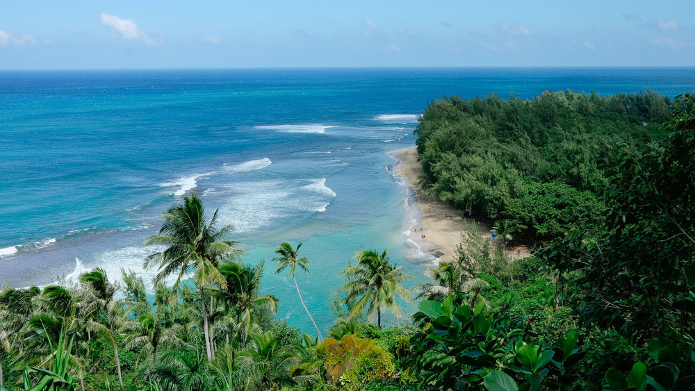 View of Hanakapi`ai Beach from the Kalalau Trail