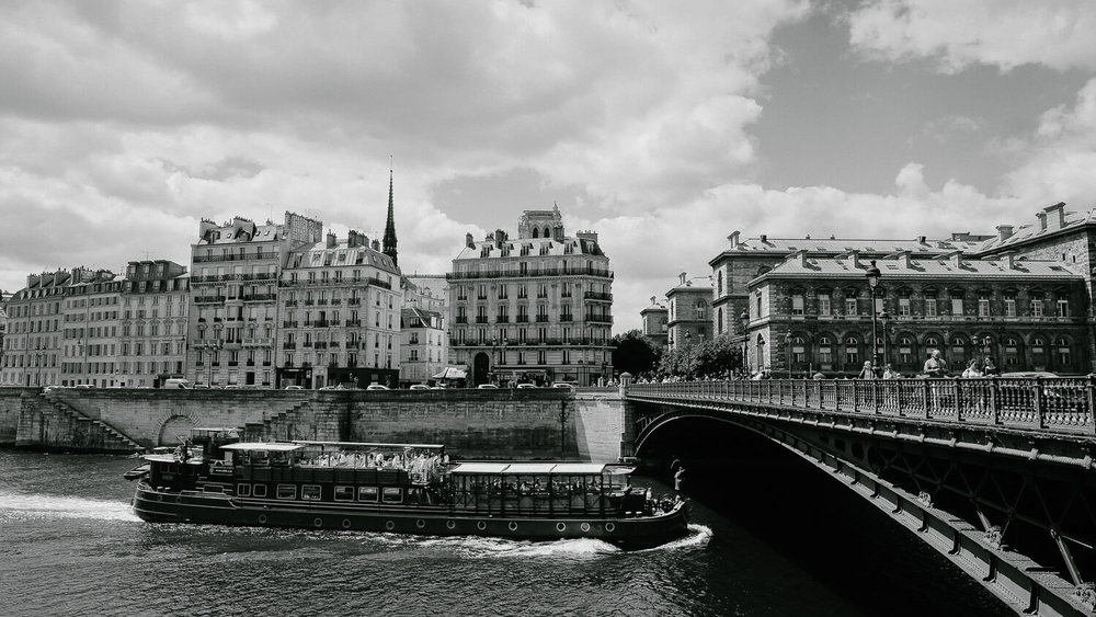 """A boat in the Seine River, Paris. Travel photography and guide by © Natasha Lequepeys for """"And Then I Met Yoko"""". #paristravel #photoblog #travelguide #france #parisitinerary"""