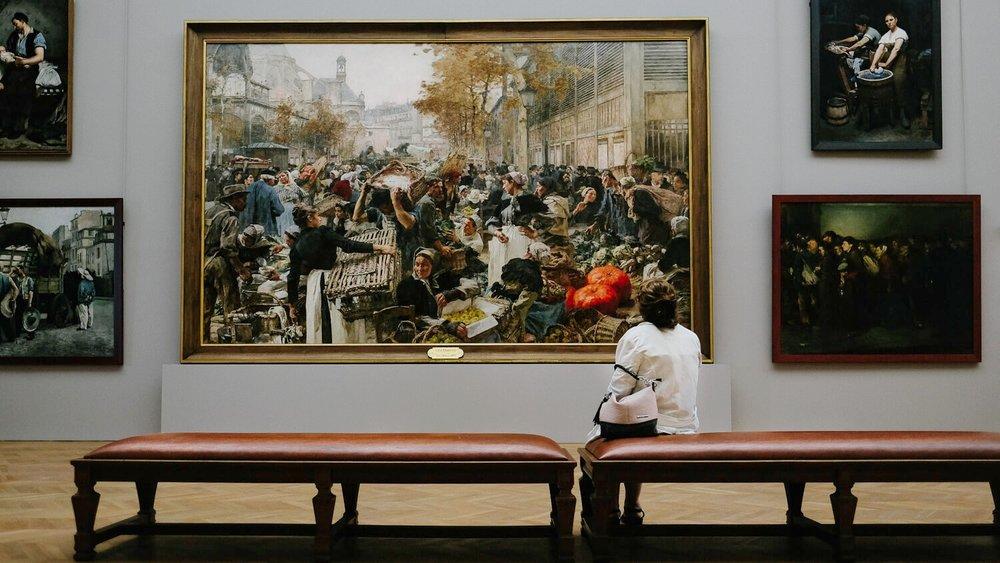 Admiring the art int he Petit Palais museum