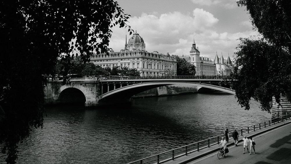 People walking along the Seine