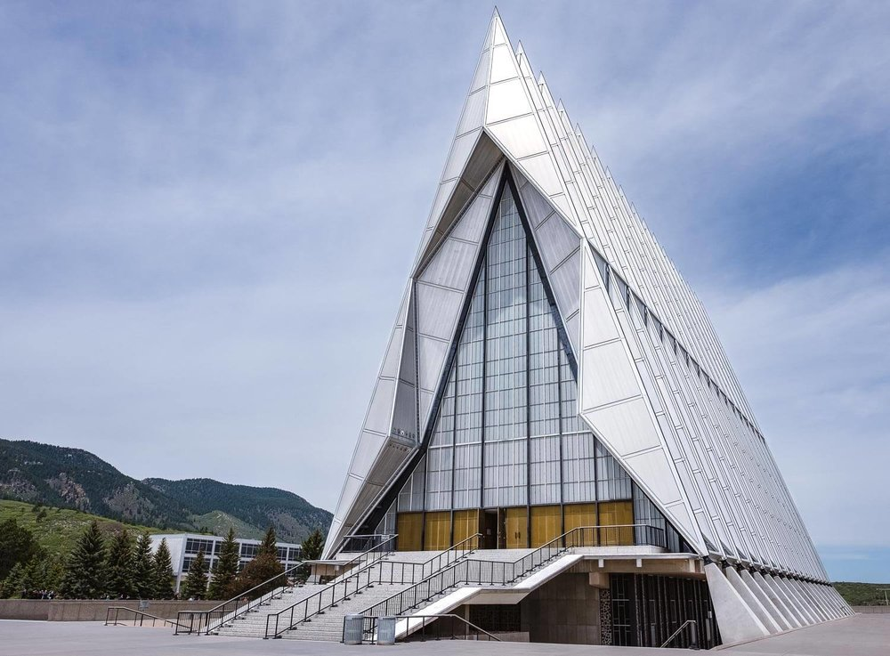 "Chapel at the US Airforce Academy, Colorado Springs.  Travel photography and guide by © Natasha Lequepeys for ""And Then I Met Yoko"". #usa #architecturephotography #coloradoitinerary #fujifilm"