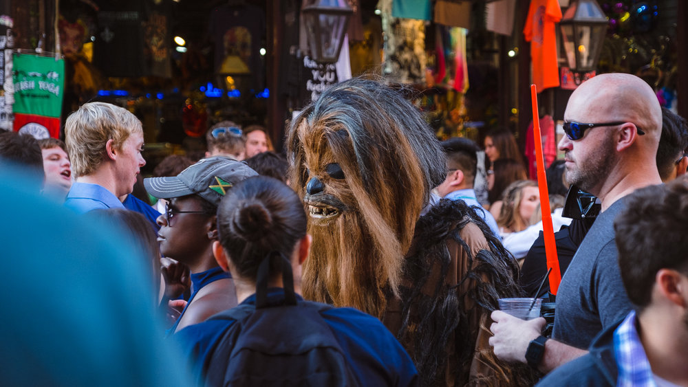"Chewbacca on Bourbon Street - Travel photography and guide by © Natasha Lequepeys for ""And Then I Met Yoko"". #neworleans #nola #photoblog #travelitinerary #fujifilm #halloween #streetphotography"