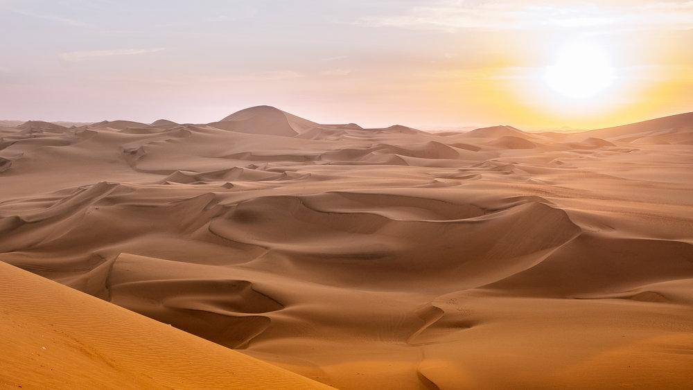 "The dunes of Ica at sunset, Peru. Travel photography and guide by © Natasha Lequepeys for ""And Then I Met Yoko"". #peru #ica #huacachina #photoblog #travelblog #travelphotography #landscapephotography #travelitinerary #fujifilm #sanddunes #desert #sunset #sandboarding #amazingplaces #beautifuldestinations #oasis #backpacker #goldenhour #travel #huacachinatours"