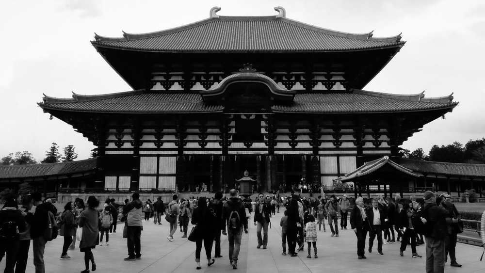 """The entrance to the Tōdai-ji temple in Nara. Travel photography and guide by © Natasha Lequepeys for """"And Then I Met Yoko"""". #japan #japanitinerary #travelblog #fujifilm #asia"""