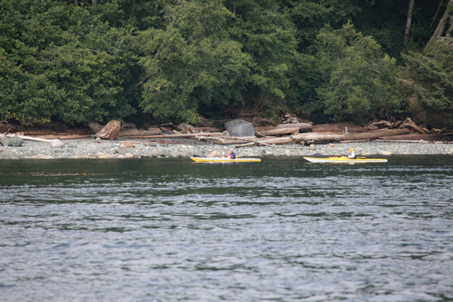 Participants in the annual 360 kayak event in Alert Bay
