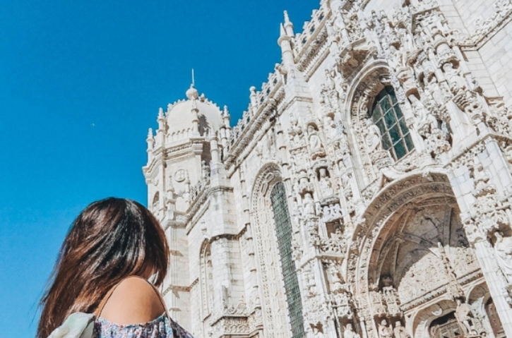 Lisbon, Portugal  - There is no shame in the selfie-stick game! Backwards that is. My solo travel photography from Jeronimos Monastery, a historic icon located in the town of Belem, right next to the city of Lisbon in Portugal.