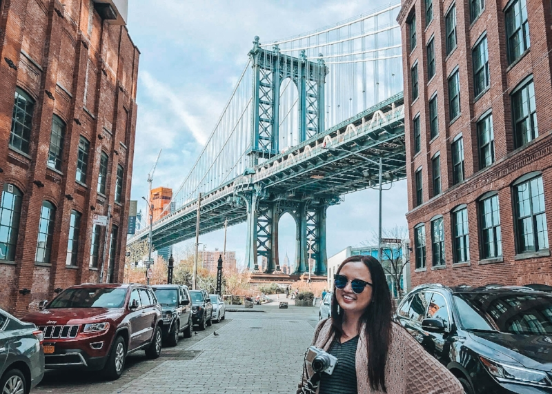 Brooklyn, New York, USA  - All smiles doing what I really love. As a travel blogger, I love everything about travel so much that I even want to venture into another medium of creativity which is vlogging. And yes, this is the Instagram-famous bridge in the DUMBO section of Brooklyn.