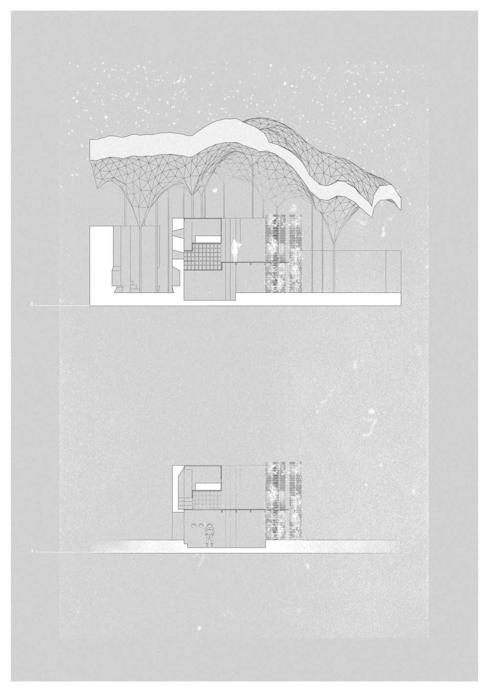 Section through a single dwelling and the Ice Sky itself.