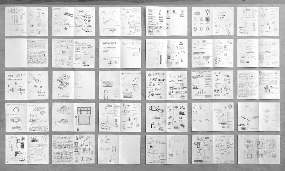 Collage of sketches in folded A4 format - produced throughout the project.