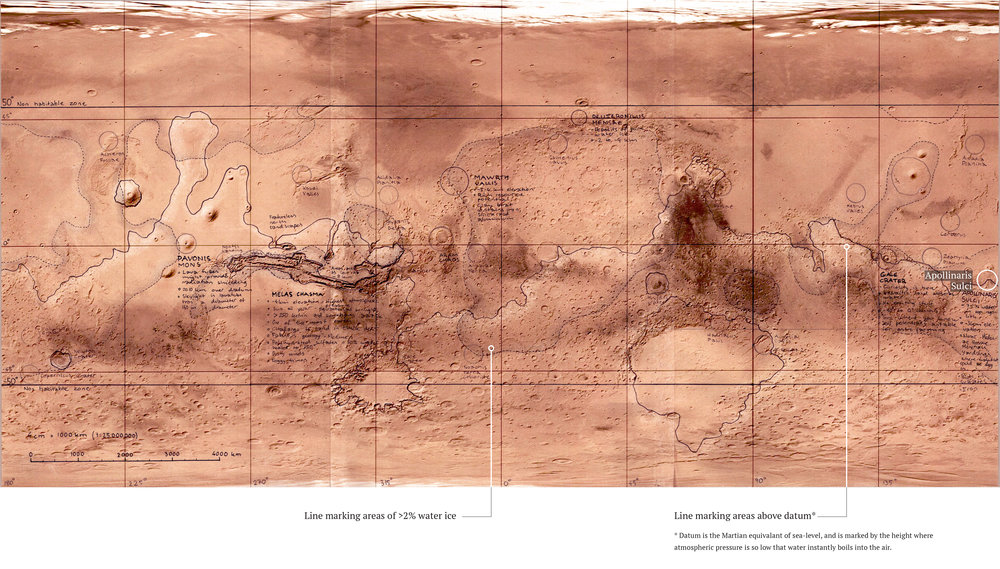 Map of Mars showing areas of interest