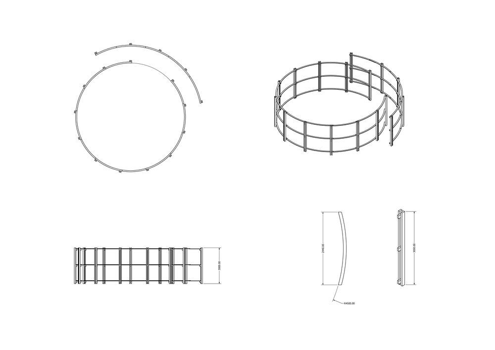 Orthographic projection of the pavilion structure