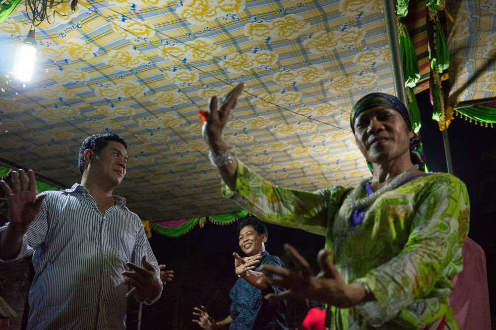 March 16, 2014 - Phnom Penh. Champa dances during the 80th birthday party that her lesbian friends organized for their mother in the outskirts of Phnom Penh. © Thomas Cristofoletti