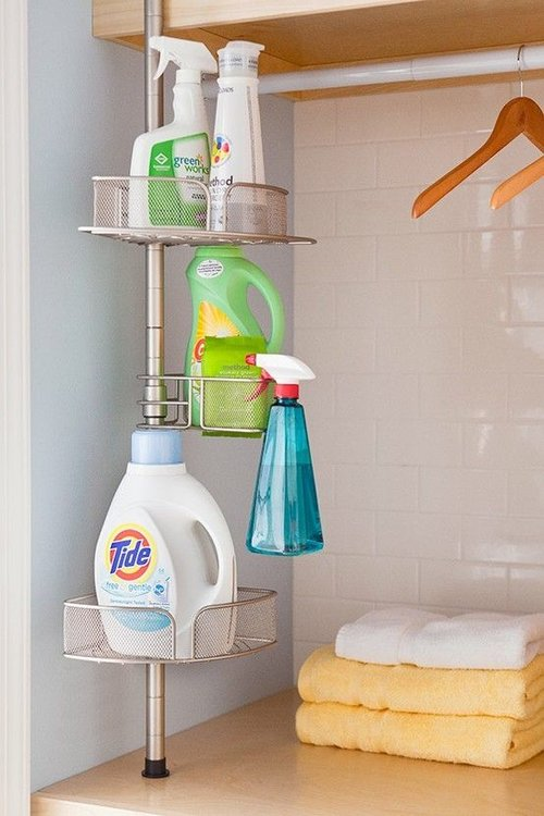 4. Easy Access in the Laundry Room - Another multi-purpose item being put to use here is a shower caddy! Depending on how many products you use in the laundry room, purchase a shower caddy that can fit everything you need, and can even replace a cart or table top you have already in the room. With placing all you need on this thin vessel, you have plenty more room for laundry baskets, hangers, etc.Image credits: indulgy.com via Pinterest