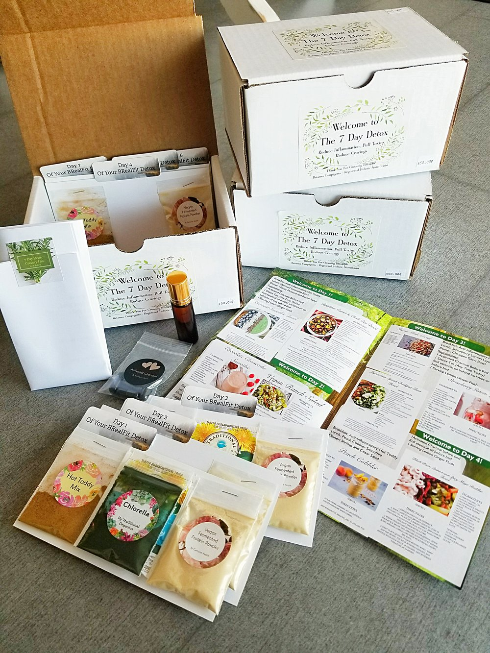 The Detox Box - Generally, we offer 2 different types of programs. One, is our 7 days detox program that includes a 7 day mean plan, a grocery list, vegan fermented protein powder for the week and some natural supplements like activated charcoal, organic spices, herbs, and essential oils. This detox program is great for anyone looking to help with digestion, inflation, bloating, cravings, and weight loss.