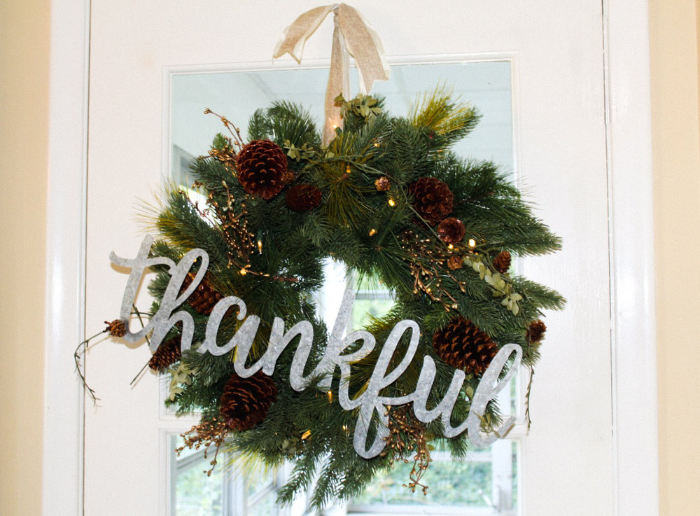 Classic Fraser Fir Wreath from Tree Classics. I added the Thankful sign from Hobby Lobby.