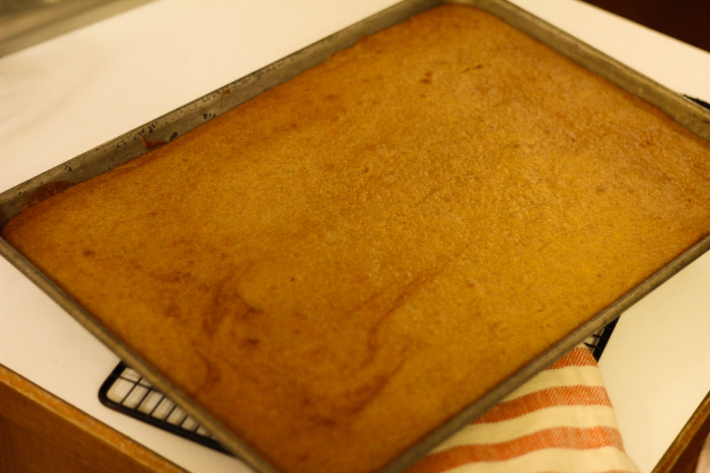 Pumpkin cake —I wish I had a better photo. I promise, it feeds a crowd and is delicious. Way better than the photo depicts.