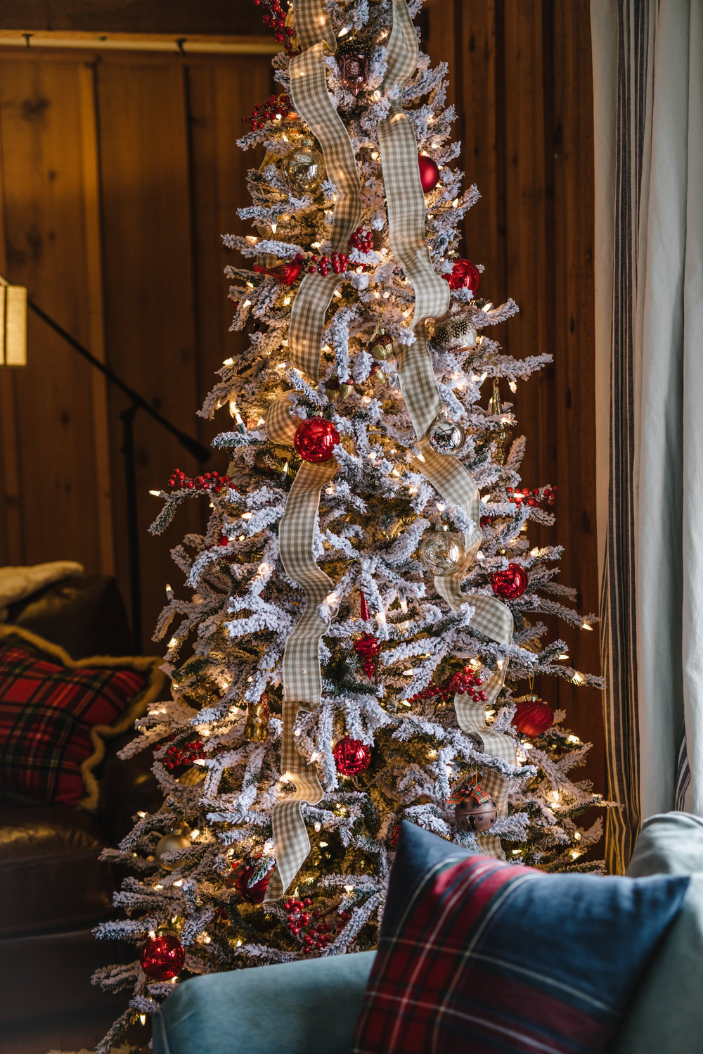 Flocked Alpine Spruce Tree ,  Woodland Ornaments , and  Red Berry picks  from Tree Classics