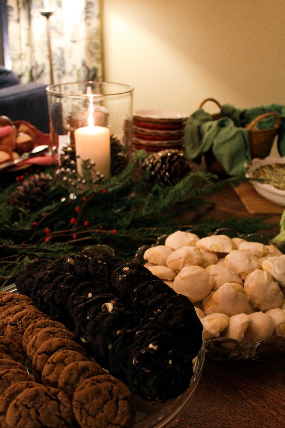 Amazing variety of holiday cookies brought by friends—molasses, peppermint chocolate chunk, and Italian lemon cookies.