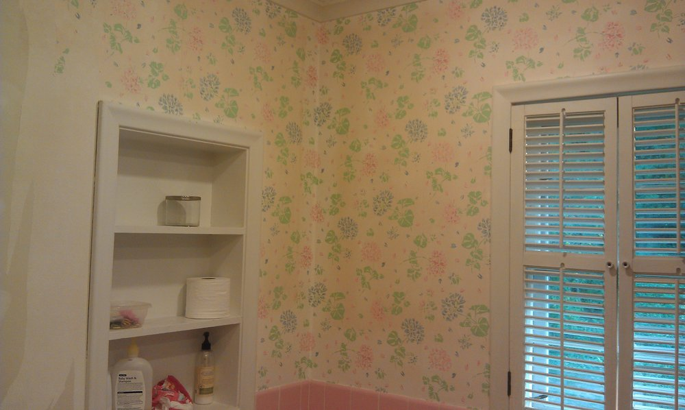 This is is basically how the bathroom looked when we purchased the house in 2011. We stripped the wallpaper and painted it a greige, but until we demoed it this past summer, 2018, it only had basic cosmetic upgrades.